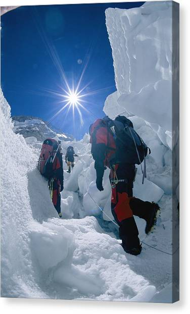 Mount Everest Canvas Print - Climbers Ascend The Khumbu Ice Fall by Bobby Model