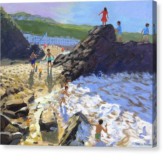 St Ives Canvas Print - Climbing On The Rocks, St Ives by Andrew Macara