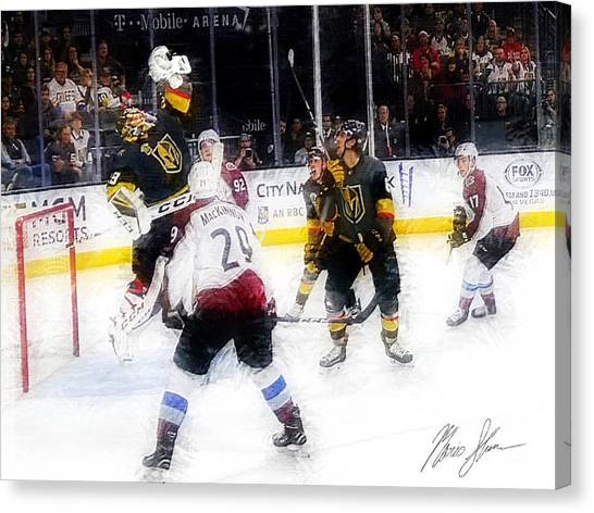 Vegas Golden Knights Canvas Print - Clinched by Mario Sferrazza