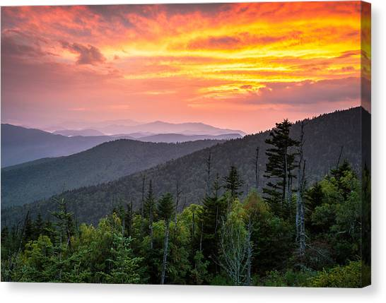 Gatlinburg Tennessee Canvas Print - Clingmans Dome Great Smoky Mountains - Purple Mountains Majesty by Dave Allen