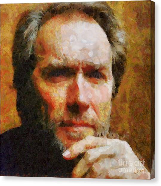 Clint Eastwood Canvas Print by Elizabeth Coats
