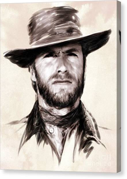 Clint Eastwood Portrait Canvas Print by Wu Wei