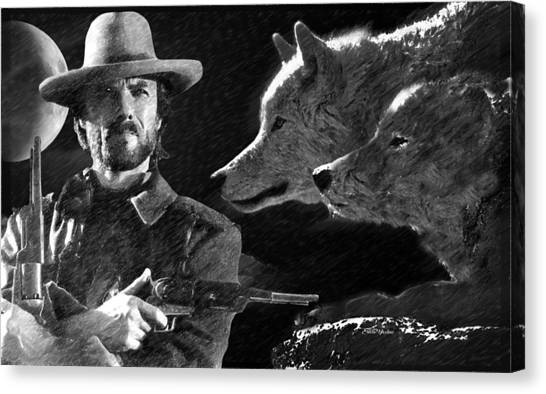 Wolf Moon Canvas Print - Clint Eastwood With Wolves by Ericamaxine Price