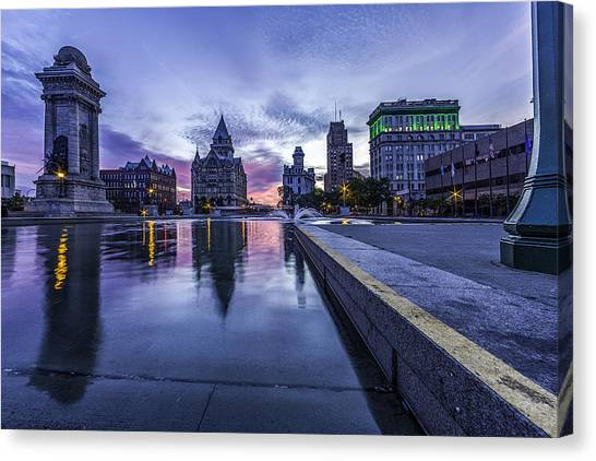 City Sunrises Canvas Print - Clinton Square Sunrise by Everet Regal