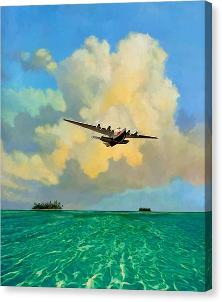 Clipper Over The Islands Canvas Print