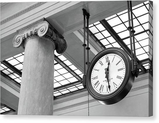 Amtrak Canvas Print - Clock And Column In Saint Paul Union Depot by Jim Hughes