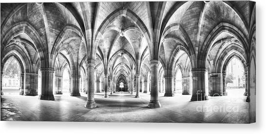 Cloister Black And White Panorama Canvas Print