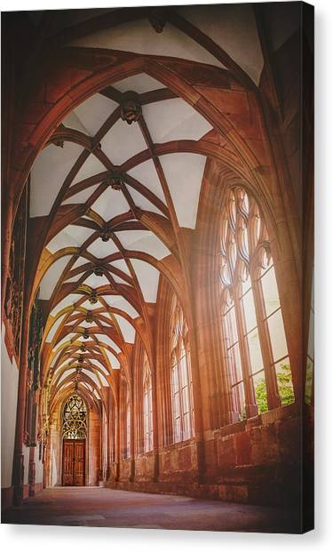 Romanesque Art Canvas Print - Cloisters Of Basel Munster Switzerland  by Carol Japp