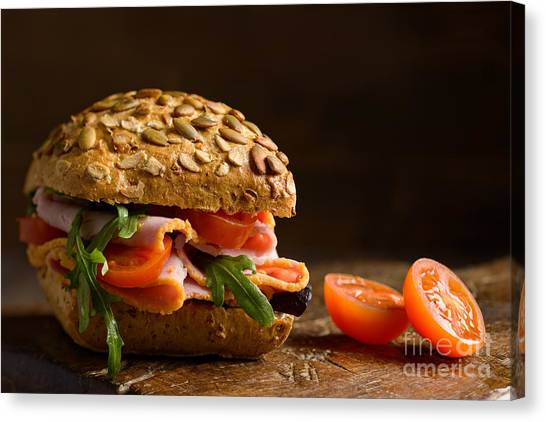 Lettuce Canvas Print - Close Up Ham Salad Roll by Amanda Elwell