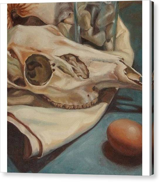 Realism Art Canvas Print - Close Up Of An Oil Painting This Past by Jennifer Soriano
