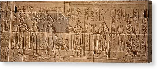 Egyptian Art Canvas Print - Close-up Of Carvings On A Wall, Temple by Panoramic Images
