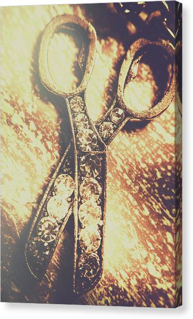 Metal Canvas Print - Close Up Of Jewellery Scissors Of Bronze by Jorgo Photography - Wall Art Gallery