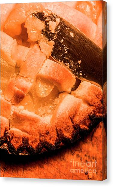 Pies Canvas Print - Close Up Of Knife Cutting Into Pie by Jorgo Photography - Wall Art Gallery