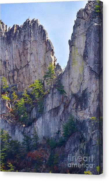 Close-up Of Seneca Rocks Top Edge Canvas Print