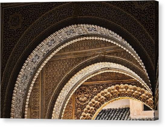 Moorish Canvas Print - Close-up View Of Moorish Arches In The Alhambra Palace In Granad by David Smith