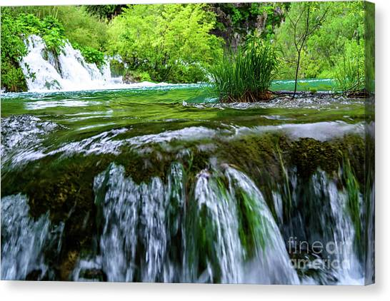 Close Up Waterfalls - Plitvice Lakes National Park, Croatia Canvas Print