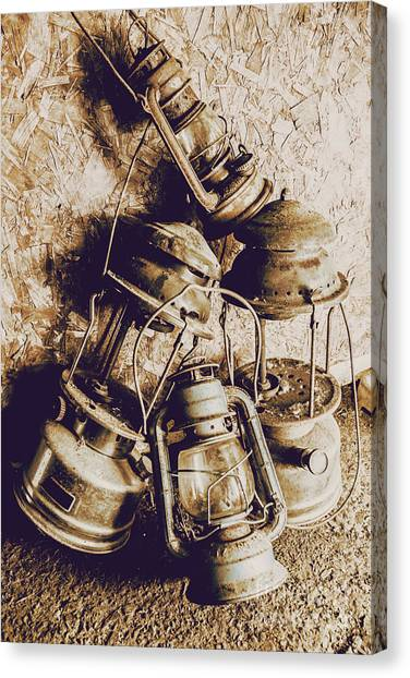 Cottage Style Canvas Print - Closeup Of Antique Oil Lamps by Jorgo Photography - Wall Art Gallery