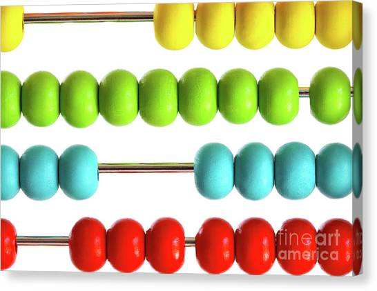 Closeup Of Bright  Abacus Beads On White Canvas Print