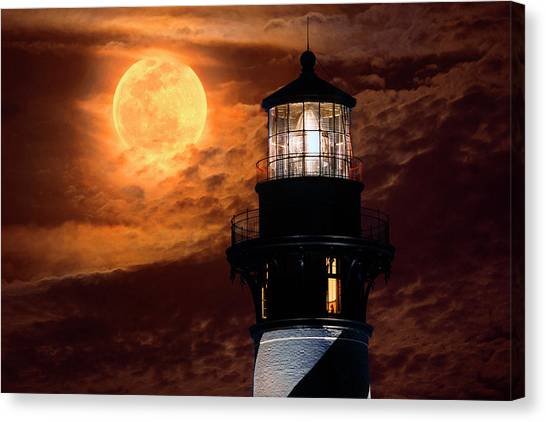 Closeup Of Full Moon Rising Over St Augustine Lighthouse Canvas Print