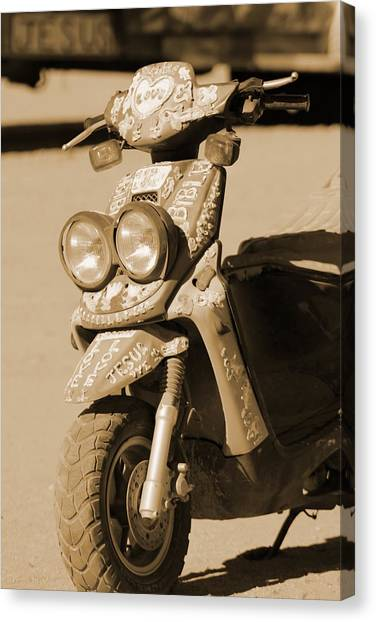 Closeup Of Jesus Scooter In Sepia Canvas Print