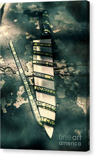 Caution Canvas Print - Closeup Of Knife Wrapped With Do Not Cross Tape On Floor by Jorgo Photography - Wall Art Gallery