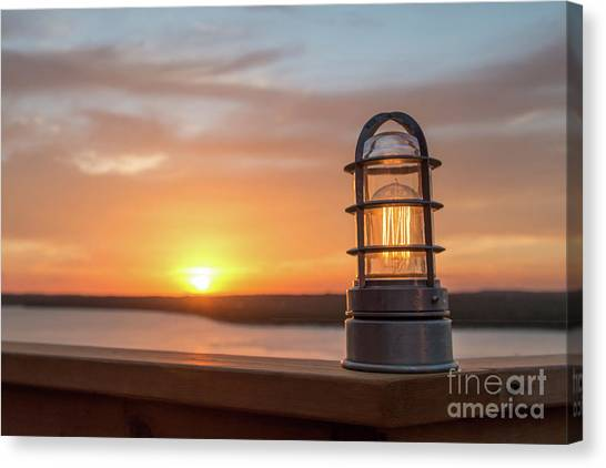 Closeup Of Light With Sunset In The Background Canvas Print