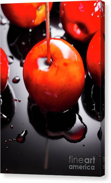 Fair Canvas Print - Closeup Of Red Candy Apple On Stick by Jorgo Photography - Wall Art Gallery
