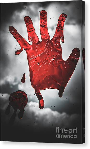 Nobody Canvas Print - Closeup Of Scary Bloody Hand Print On Glass by Jorgo Photography - Wall Art Gallery
