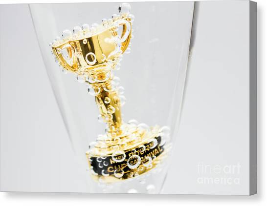 Champagne Canvas Print - Closeup Of Small Trophy In Champagne Flute. Gold Colored Award I by Jorgo Photography - Wall Art Gallery
