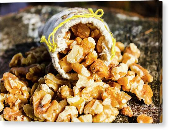 Vegetarian Canvas Print - Closeup Of Walnuts Spilling From Small Bag by Jorgo Photography - Wall Art Gallery