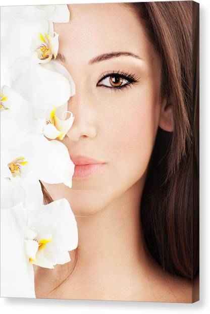 Closeup On Beautiful Face With Flowers Canvas Print