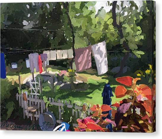 Clothesline And Coleus In An East Gloucester  Ma Garden  Canvas Print
