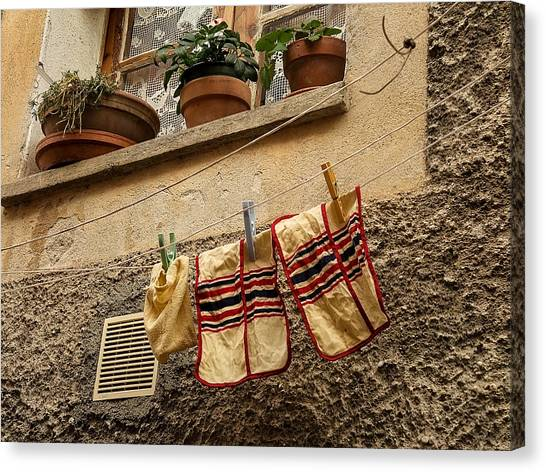 Clothesline In Biot Canvas Print