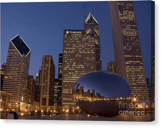 The Bean Canvas Print - Cloud Gate At Night by Timothy Johnson