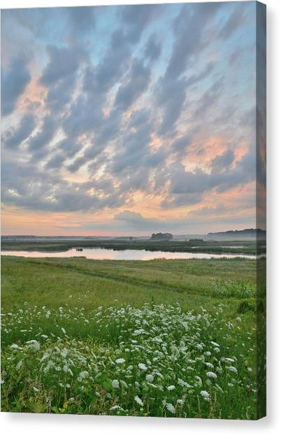 Prairie Sunrises Canvas Print - Cloud Pattern Over Glacial Park by Ray Mathis