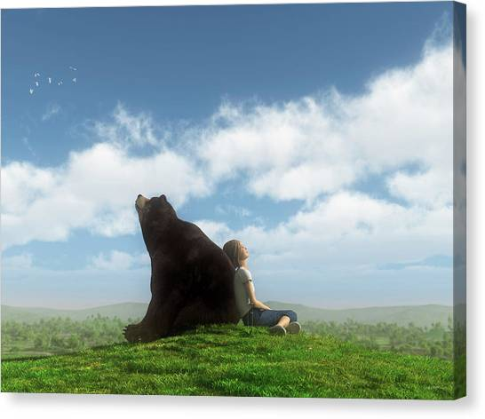 Black Bears Canvas Print - Cloud Watchers by Cynthia Decker