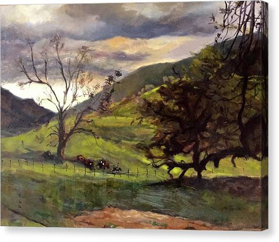 Clouds And Cattle Canvas Print