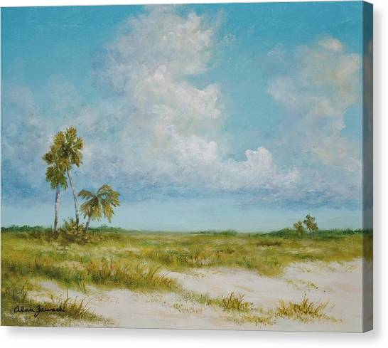 Clouds And Palms By Alan Zawacki Canvas Print