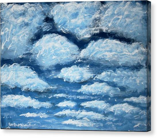 Canvas Print featuring the painting Clouds by Antonio Romero