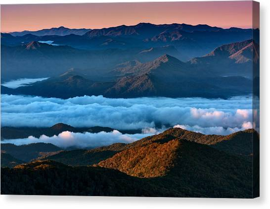 Smokey Mountains Canvas Print - Clouds In The Valley by Rick Berk