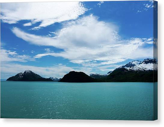 Clouds Mountains And Water Canvas Print