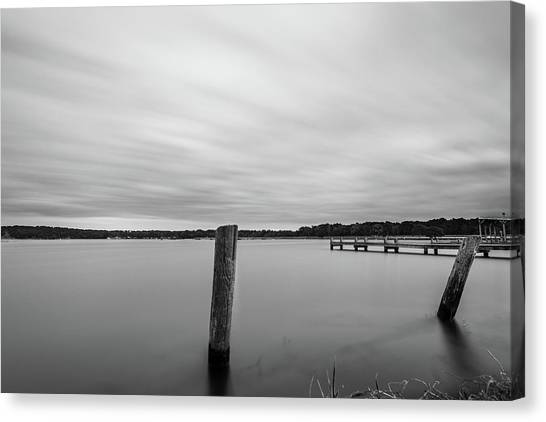 Canvas Print featuring the photograph Clouds Moving Over Lake Long Exposure by Todd Aaron