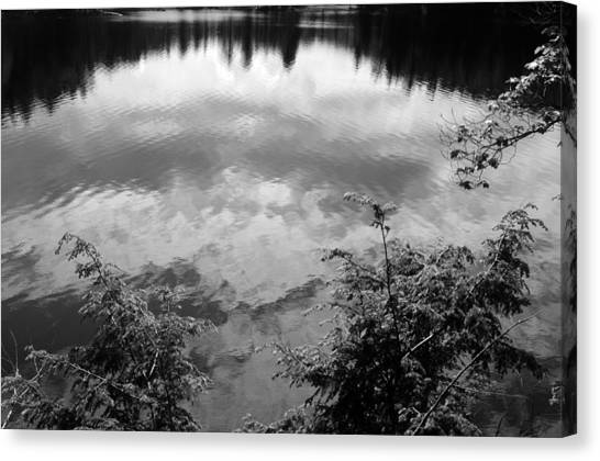 Clouds On Rock Pond Canvas Print