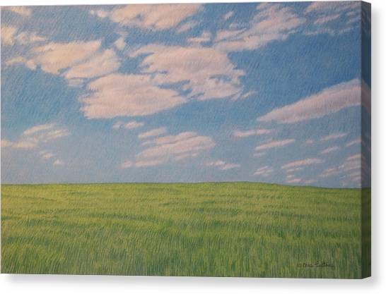 Clouds Over Green Field Canvas Print