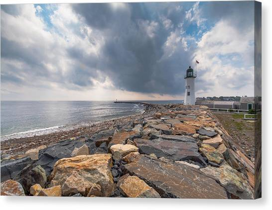 Clouds Over Old Scituate Light Canvas Print