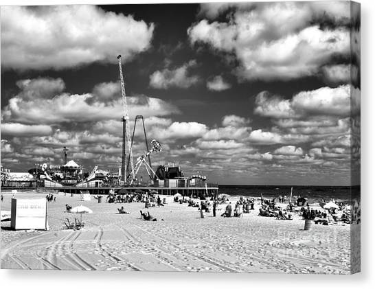 Casino Pier Canvas Print - Clouds Over Seaside Heights Mono by John Rizzuto