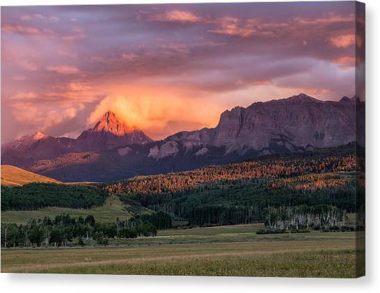 Canvas Print featuring the photograph Clouds Over Sneffels At Sunset by Denise Bush