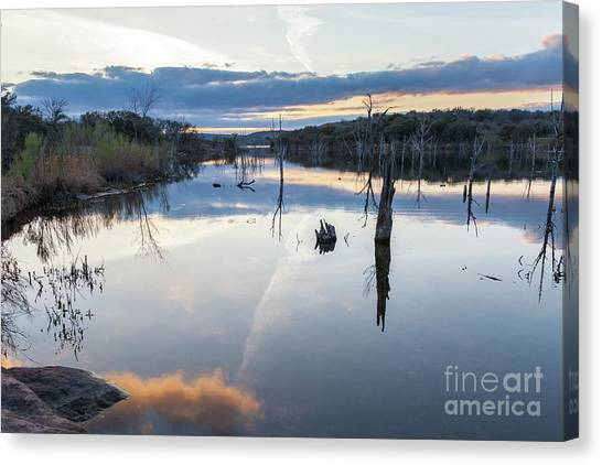 Clouds Reflecting On Large Lake During Sunset Canvas Print