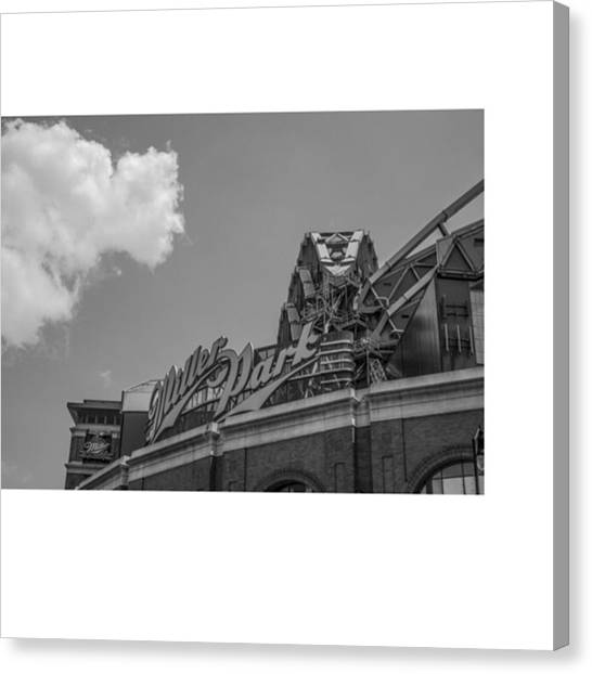 Baseball Canvas Print - #clouds #skyline #blacknwhite by David Haskett II
