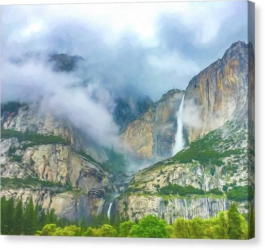 Cloudy Day At Yosemite Falls Digital Watercolor Canvas Print